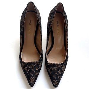 Sole Society Black Lace Pointed Toe Pump